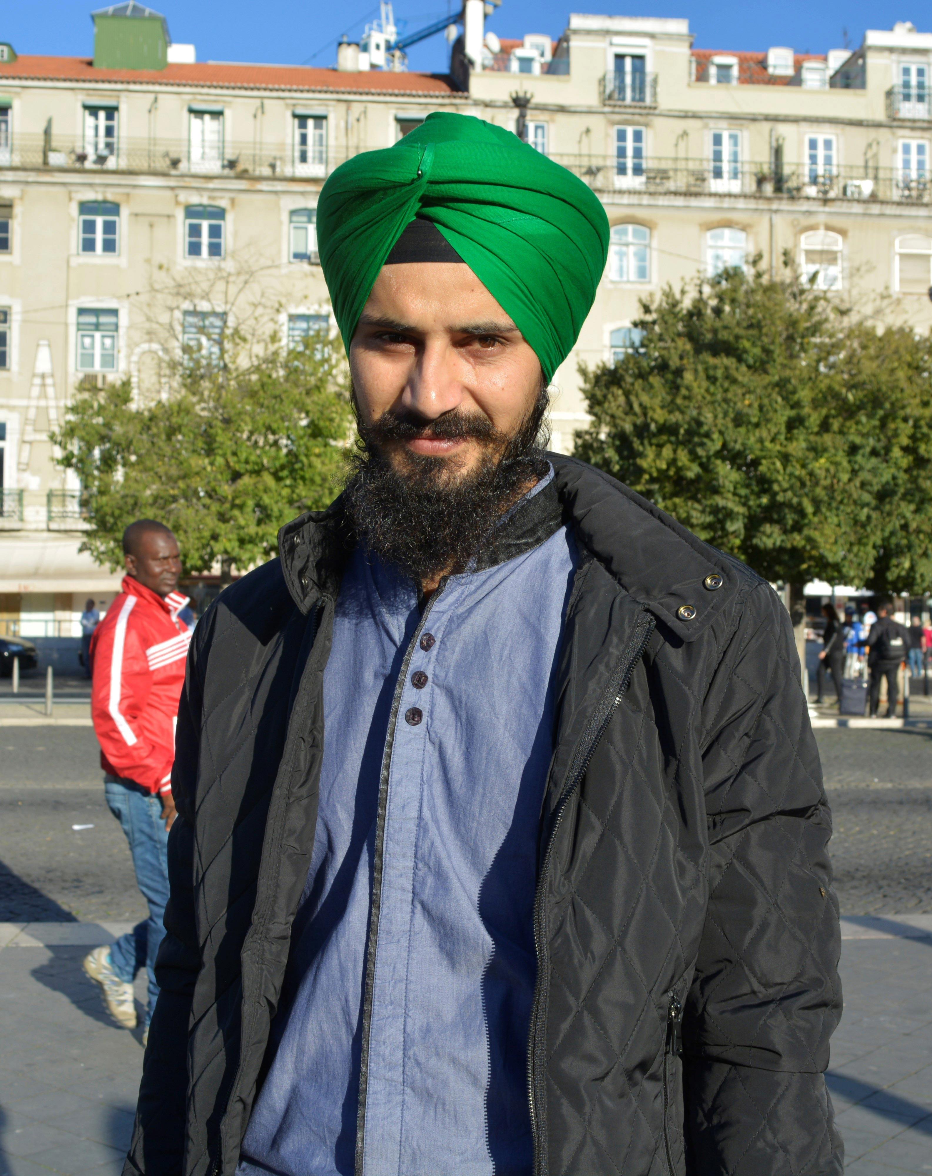 Devinder Singh, imigrante oriundo da Índia, juntou-se à marcha pelos direitos dos imigrantes em Portugal