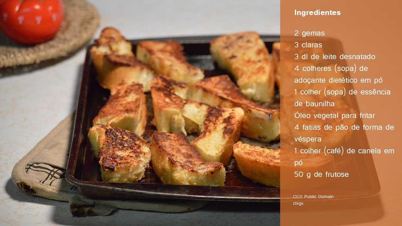 Preparação: 1-Bata ligeiramente as gemas com as claras, com uma vara de arames. A seguir, adicione o leite, o adoçante e a baunilha. 2-Mergulhe as fatias de pão na mistura, embebendo-as completamente, à medida que as vai fritando na gordura quente, de ambos os lados. 3-Retire e escorra sobre papel absorvente. Deixe arrefecer e polvilhe as rabanadas com a canela em pó e a frutose.