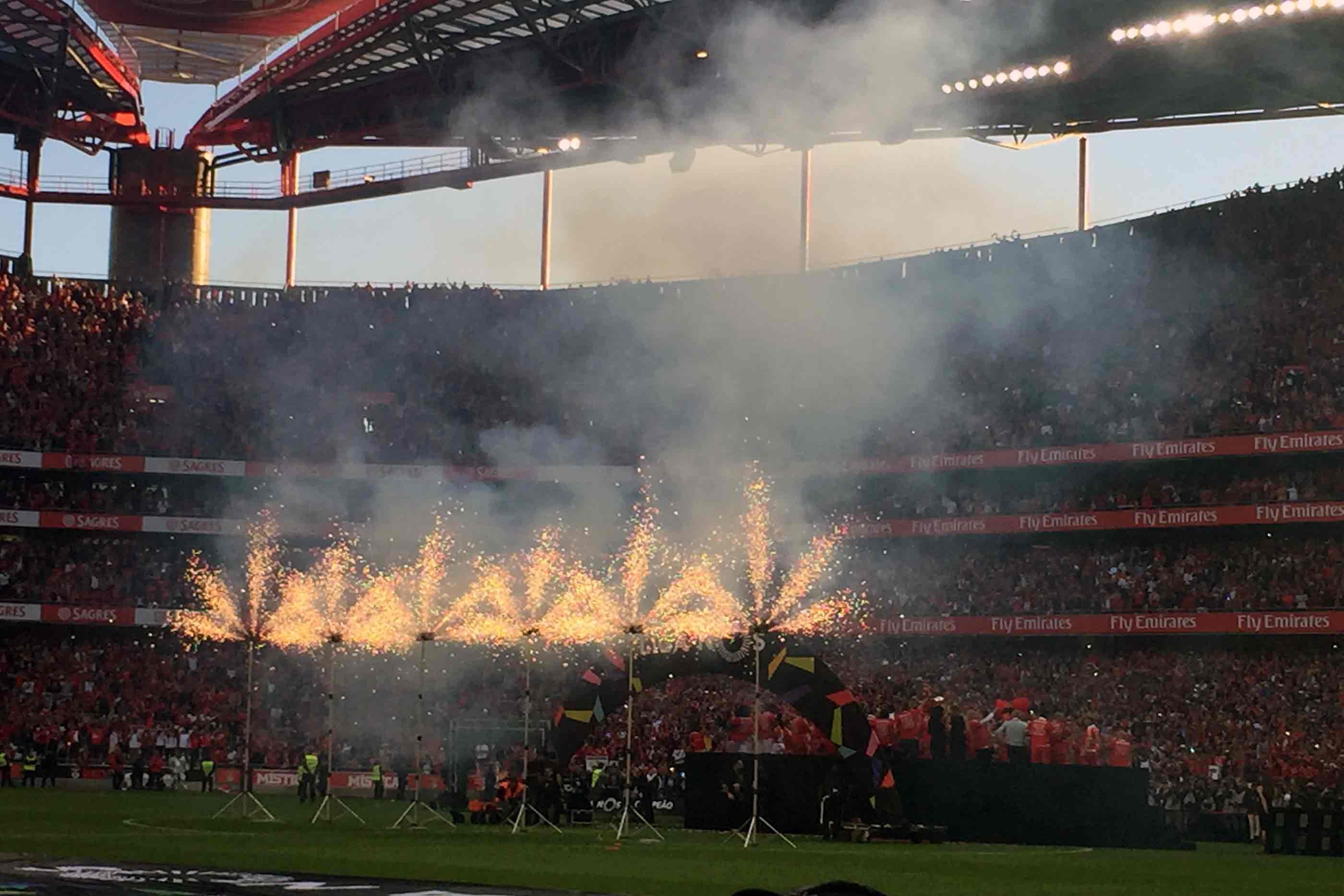Celebração do tri campeonato no Estádio da Luz