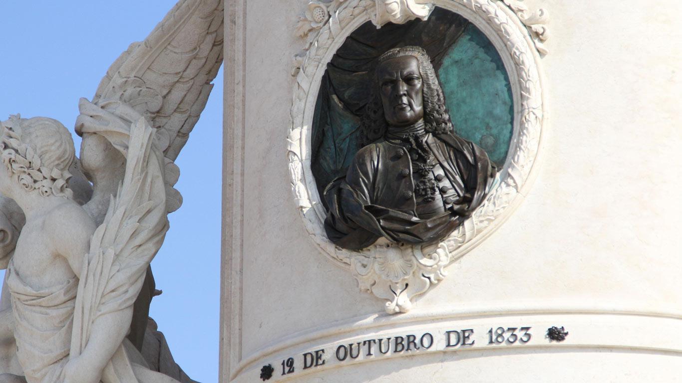 Medalhão com o busto de Marquês de Pombal