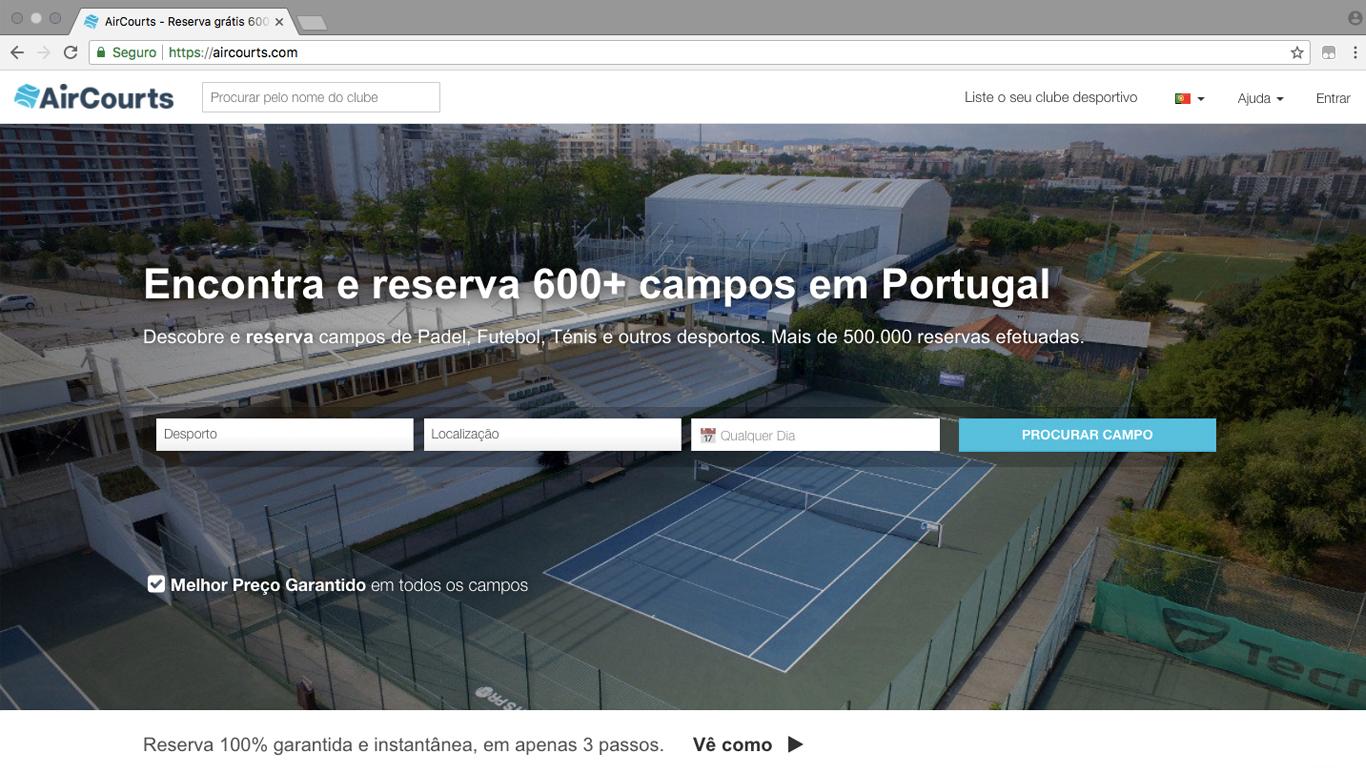 Printscreen da página inicial do site da empresa Aircourts.