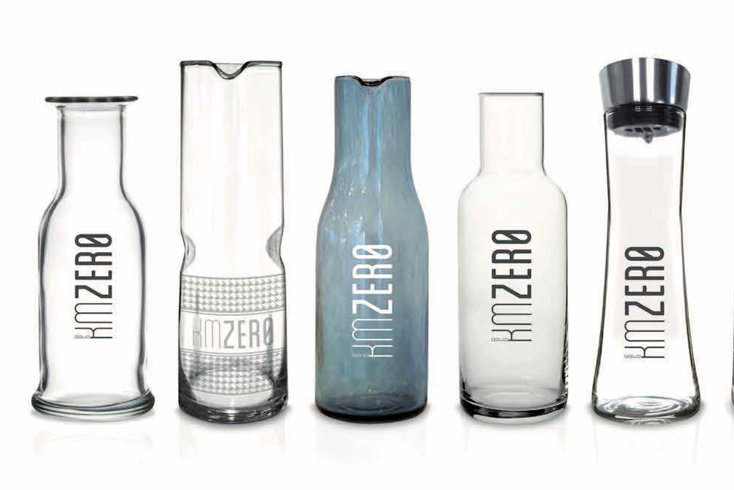 Exemplos de garrafas de água da KMZERO
