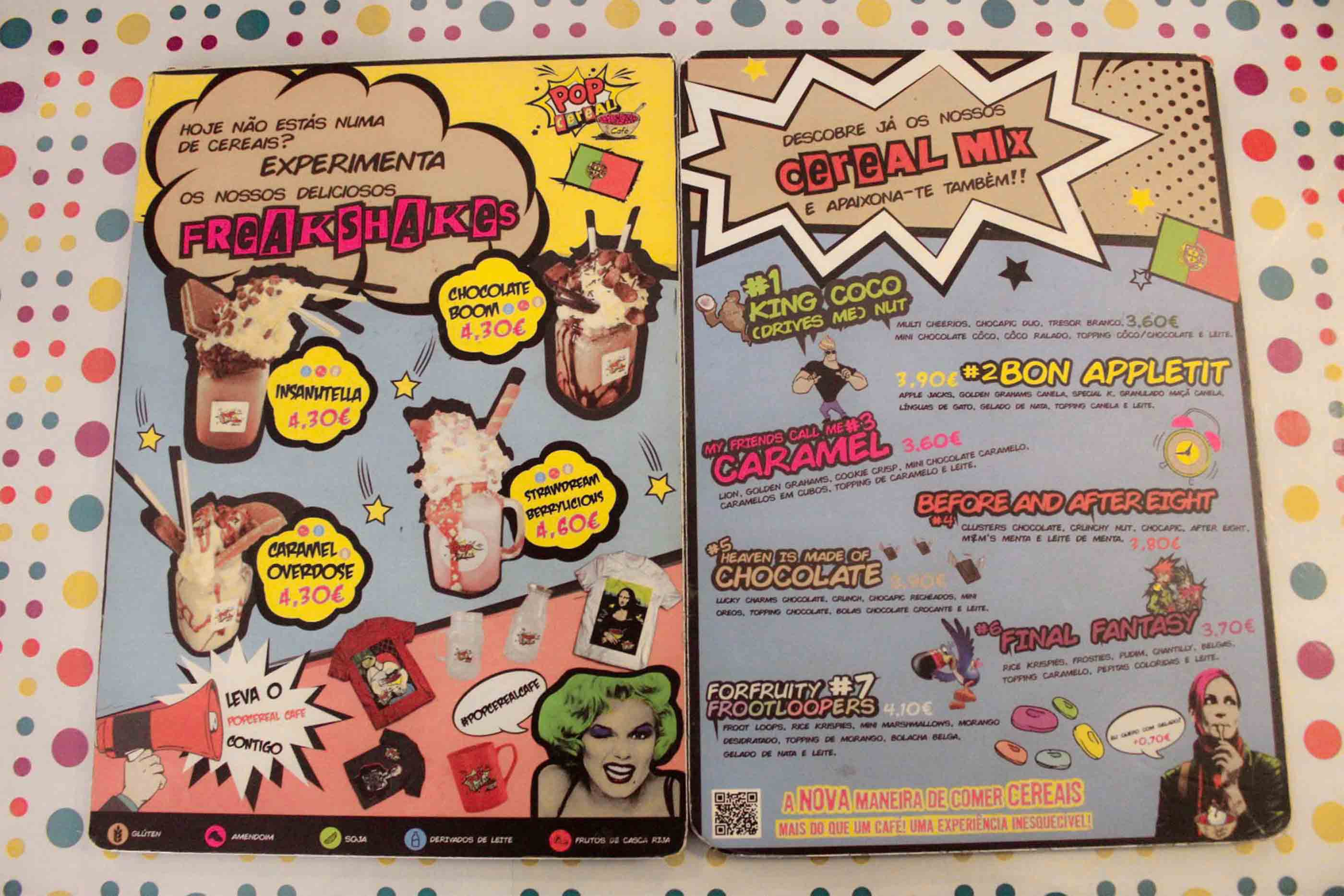 Menu Pop Cereal Café