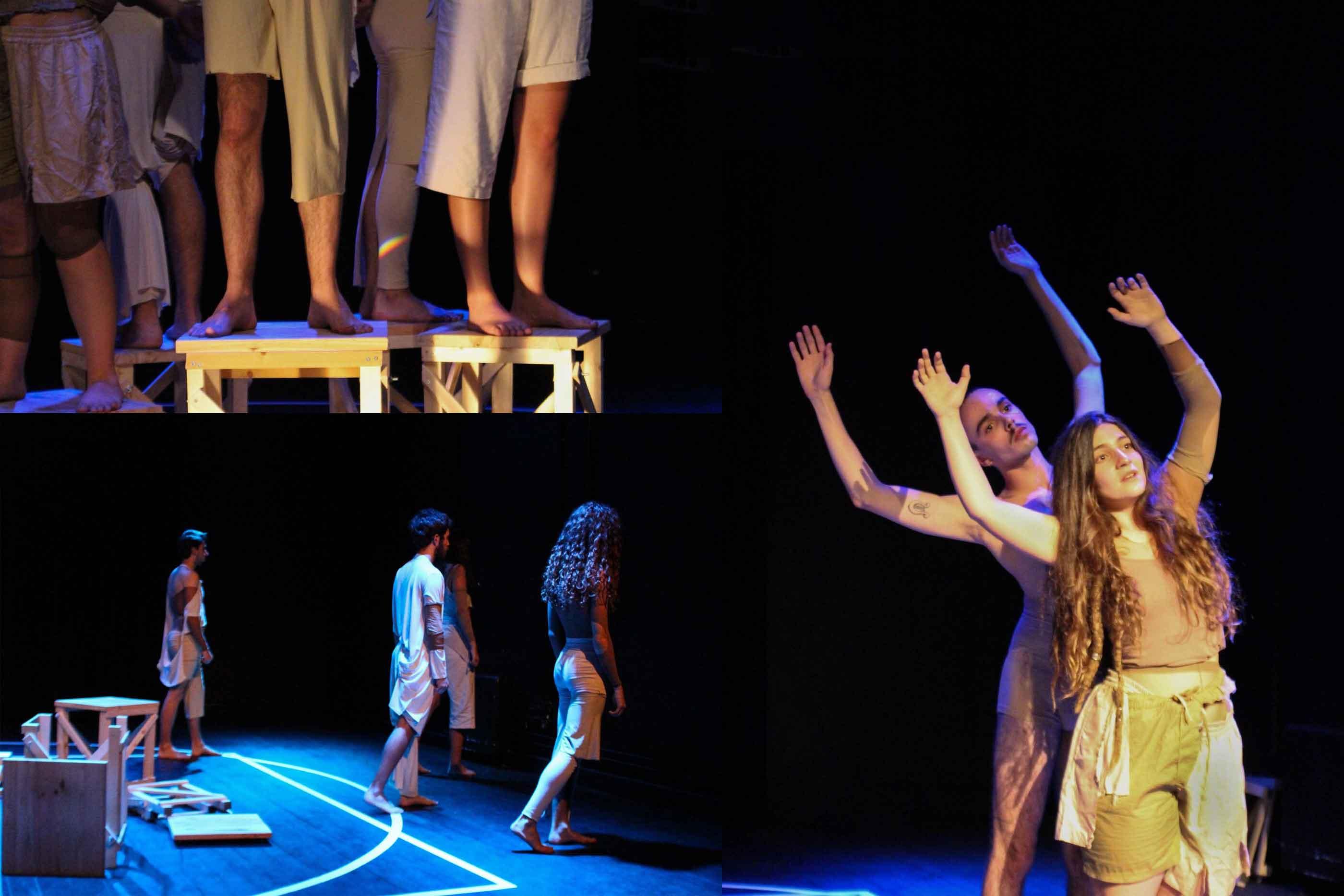 Atores em palco, em três cenas bastante emotivas da peça