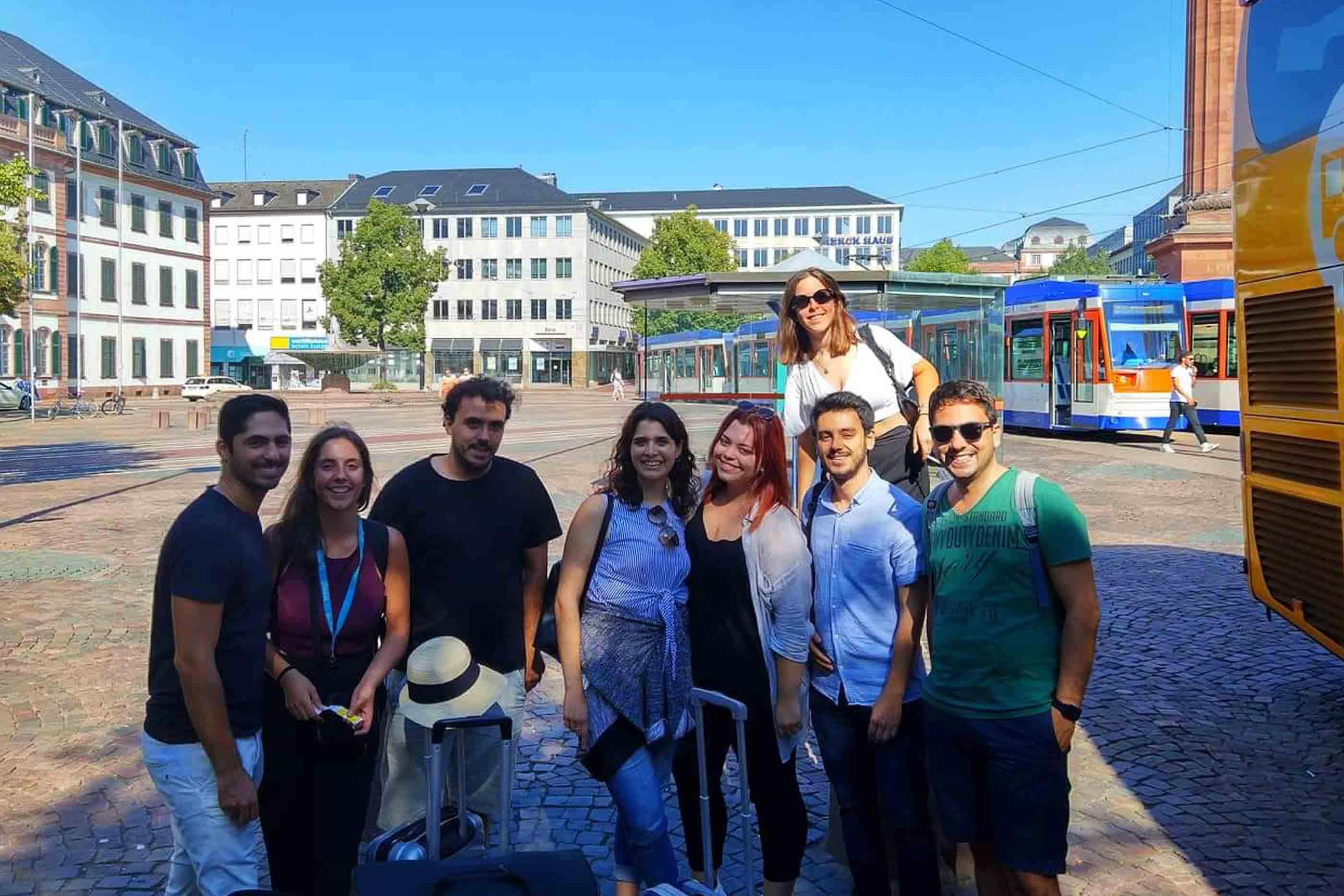Joana no seu primeiro dia de estágio em Darmstadt, Alemanha