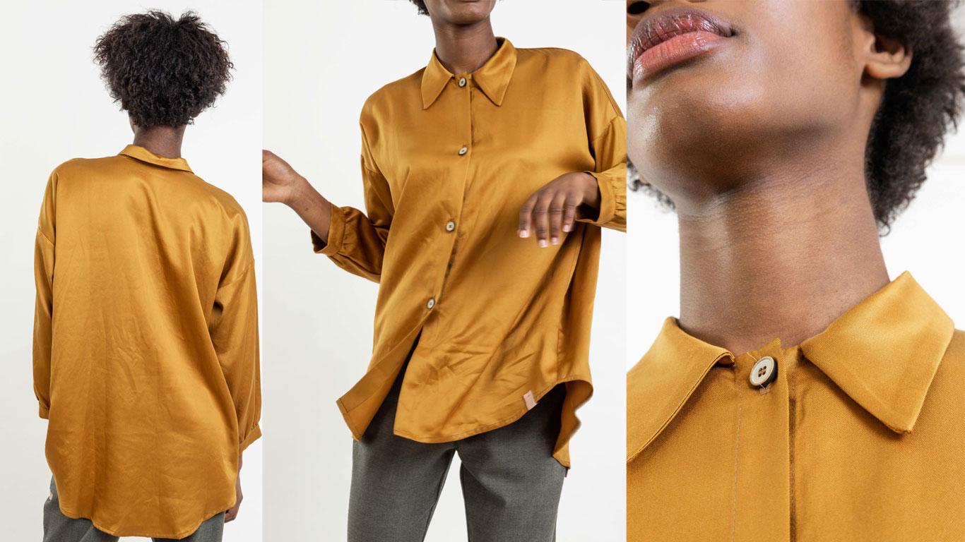 Camisa amarela oversize em lyocell, um tecido brilhante e leve com botões