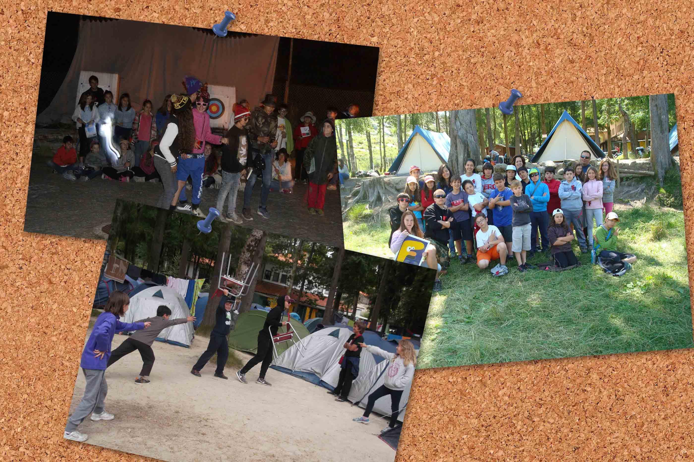 Acampamento e campistas em momentos de actividade, dinâmicas e de grupo