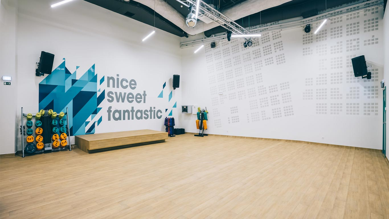 Sala de aulas do ginásio Pump Fitness Spirit