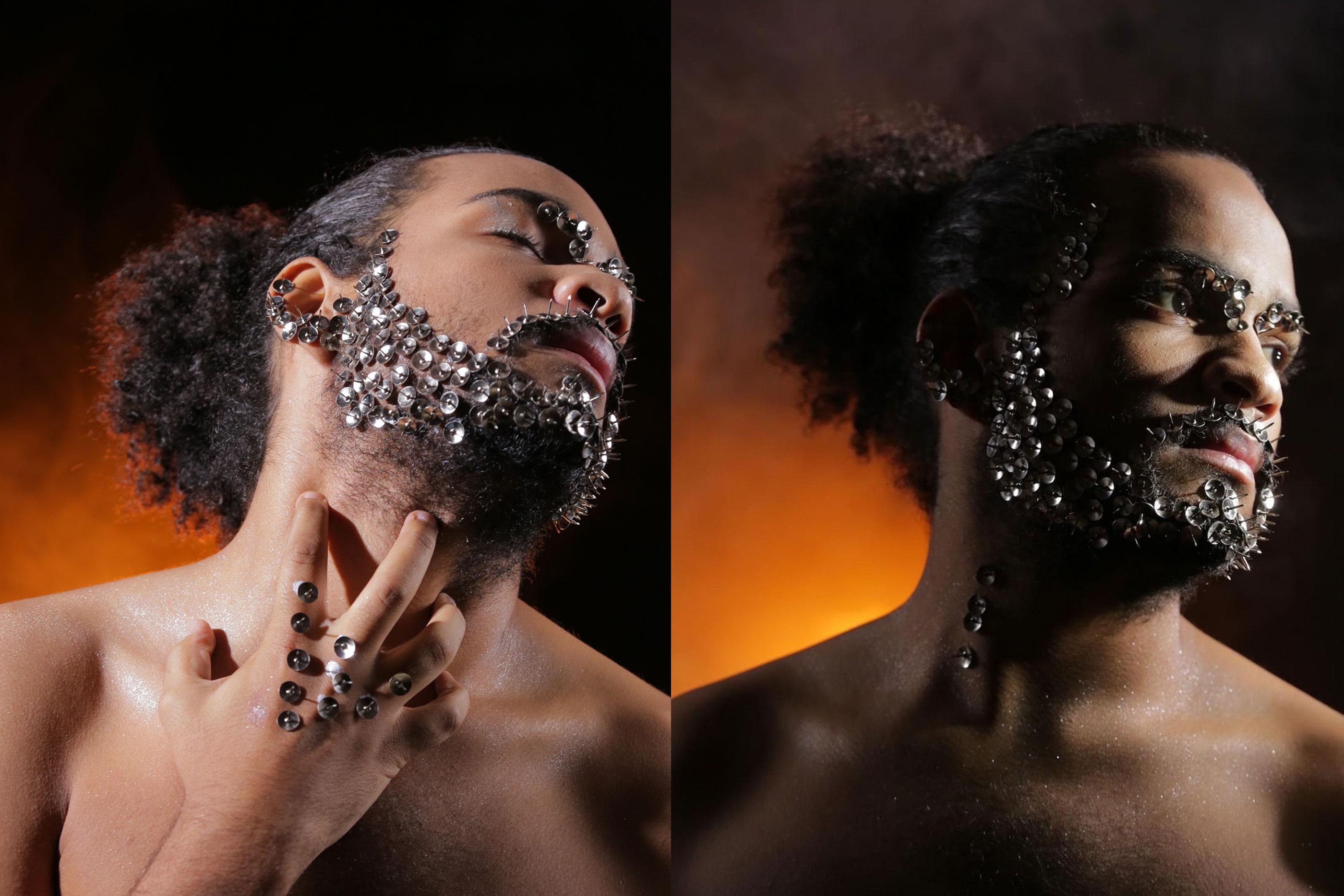 João é a segunda tela humana de Raquel com uma maquilhagem que simula uma armadura na face, através da utilização de pionés, que remete para o escudo necessário na sociedade contemporânea.