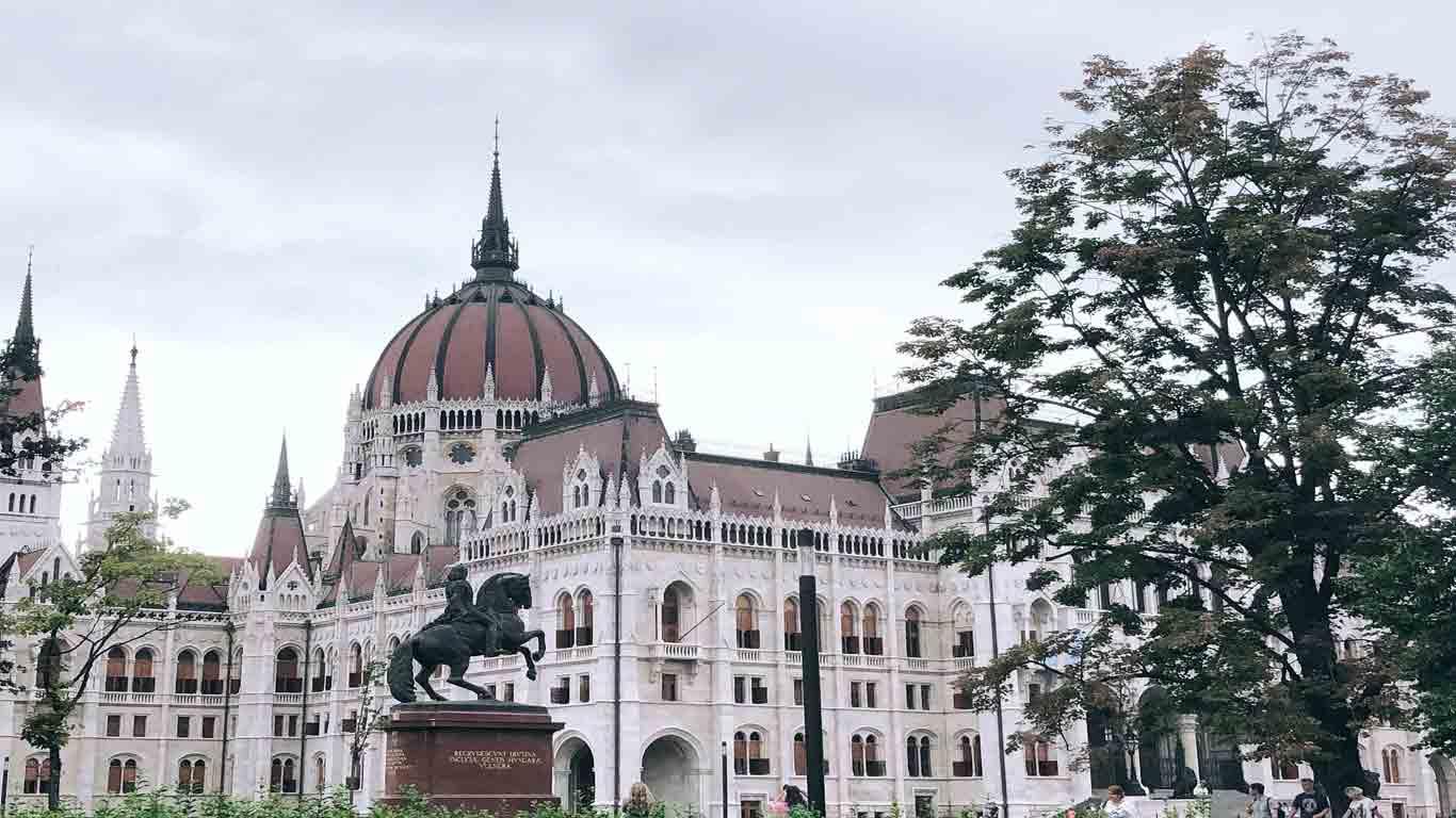 Vista de fora do edíficio do Parlamento Húngaro