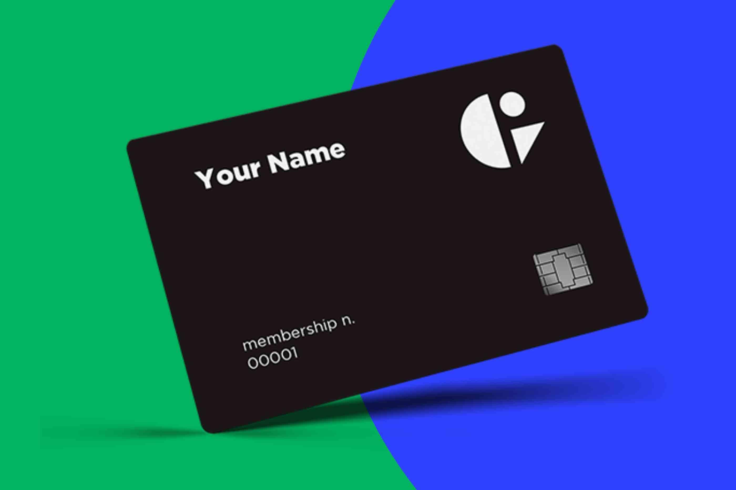 Cartão de Sócio Gig Club, preto, representado num fundo bi-color verde e azul