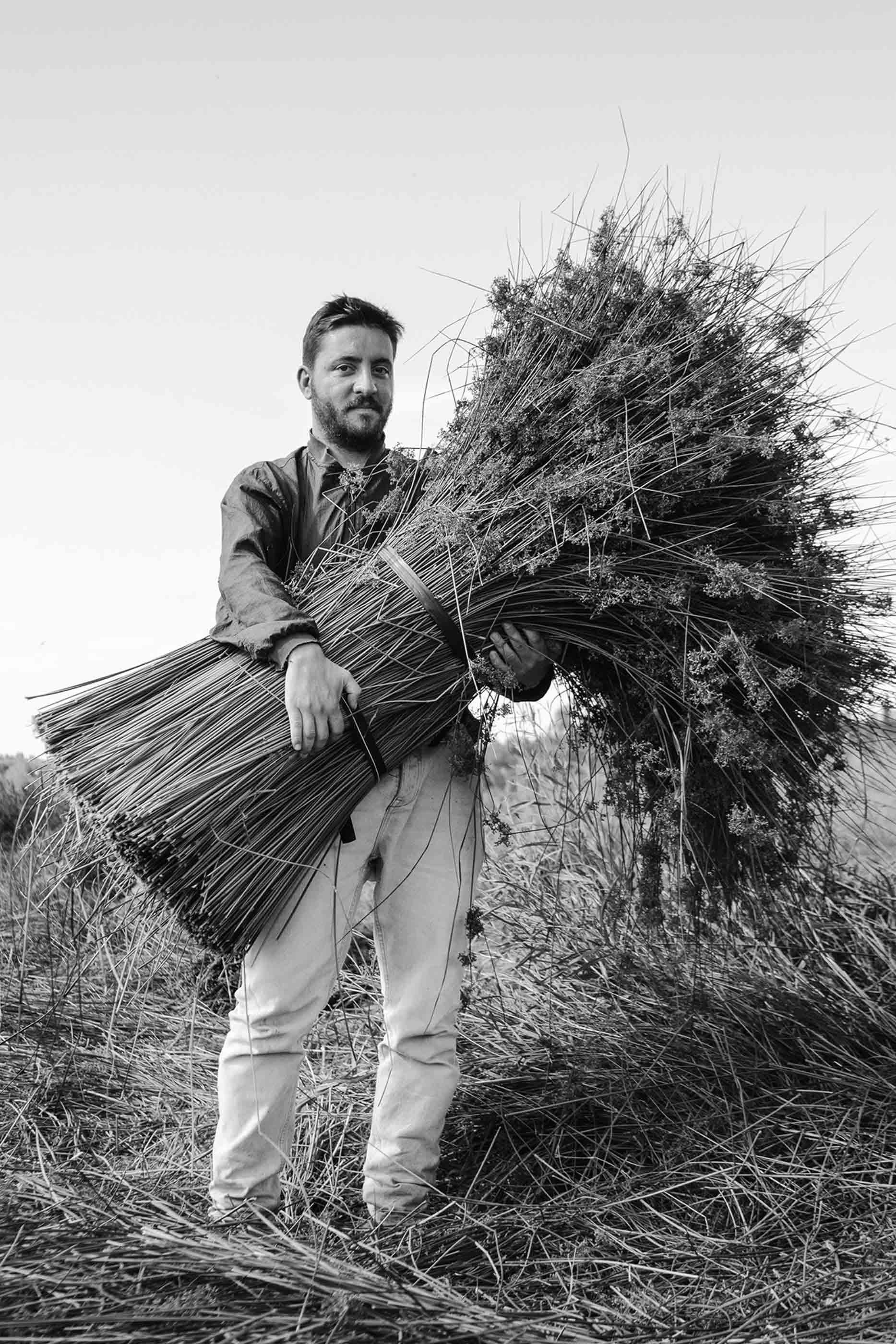 Foto a preto e branco de Nuno Henriques, criador da marca TOINO ABEL, a segurar um grande ramo de junco, no campo