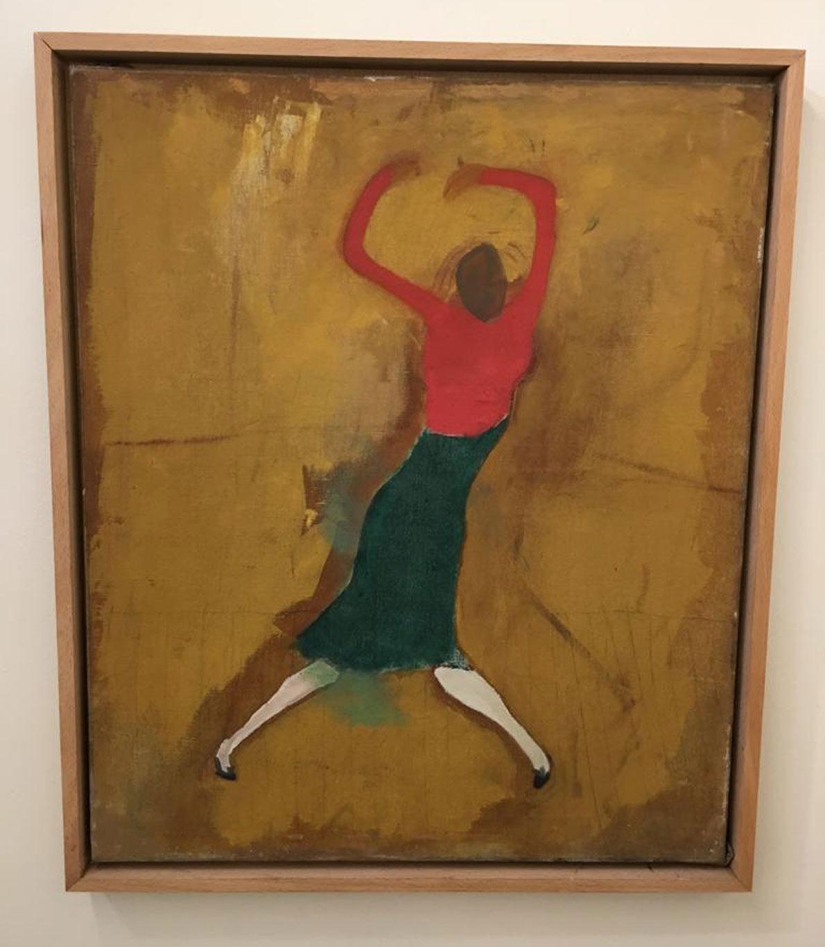 Quadro de mulher de costas bailando. Fundo a castanho em contraste com as cores vermelha e verda da roupa.