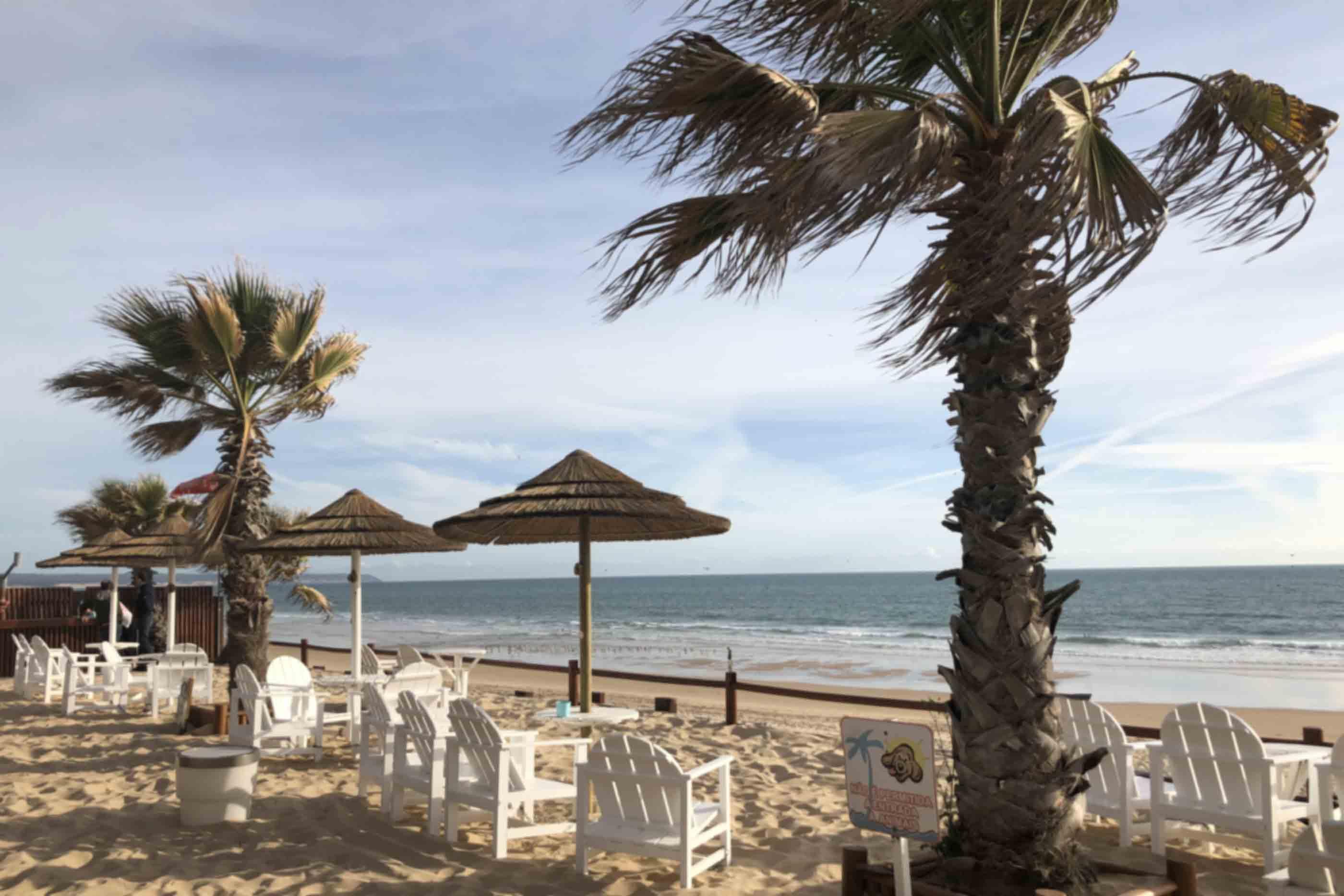Esplanada na praia Fonte da telha, no café-bar Rampa Beach na Costa da Caparica