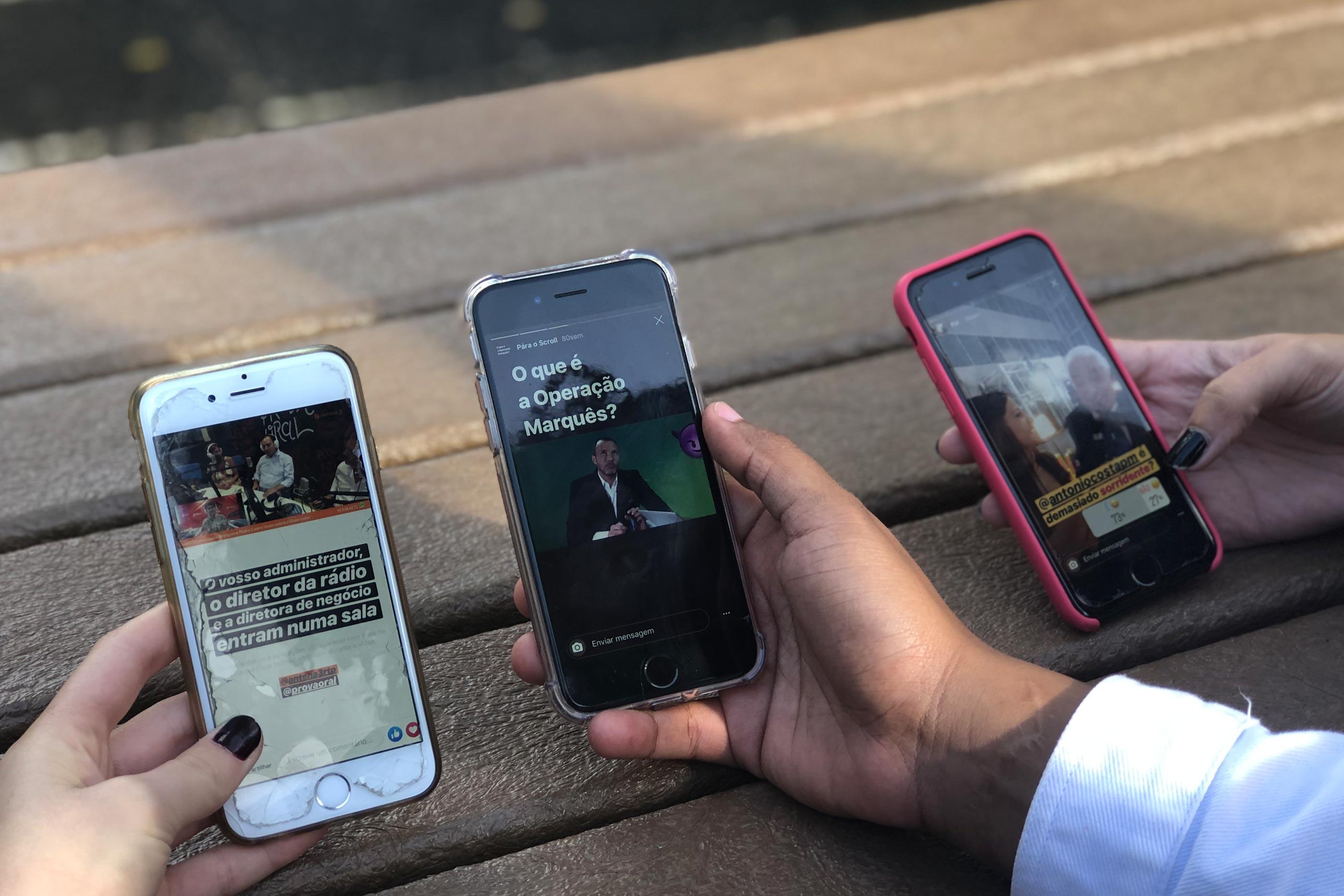 Em três ecrãs, três utilizadores vêm stories produzidos por Diana Duarte.