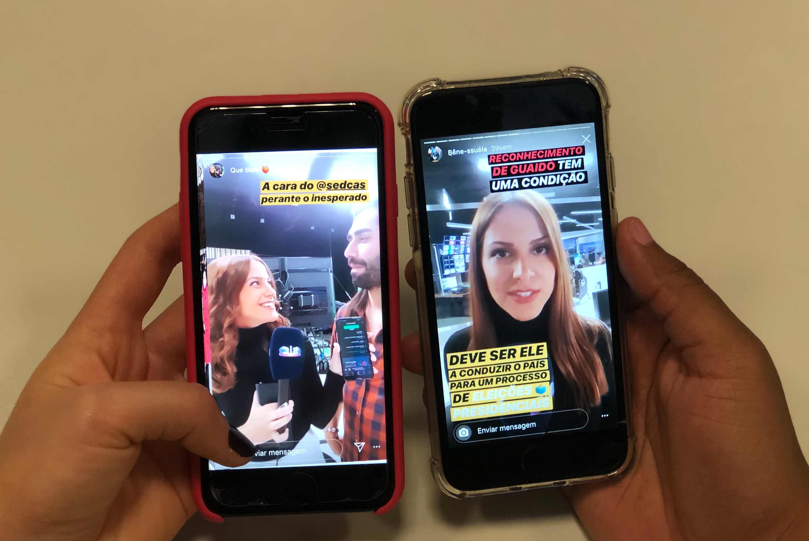 Duas mãos seguram dois telemóveis. Em cada um estão conteúdos produzidos por Diana Duarte.