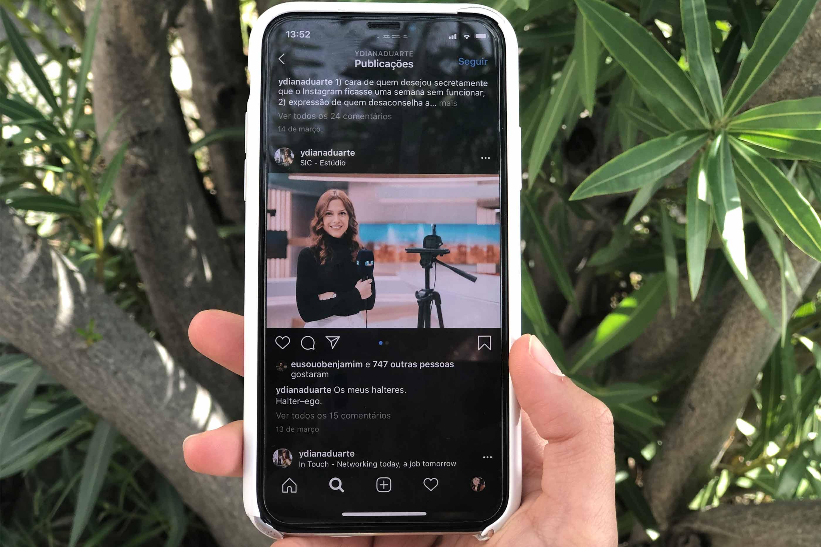 Fotografia do feed de instagram de Diana Duarte com uma fotografia em que a própria aparece.