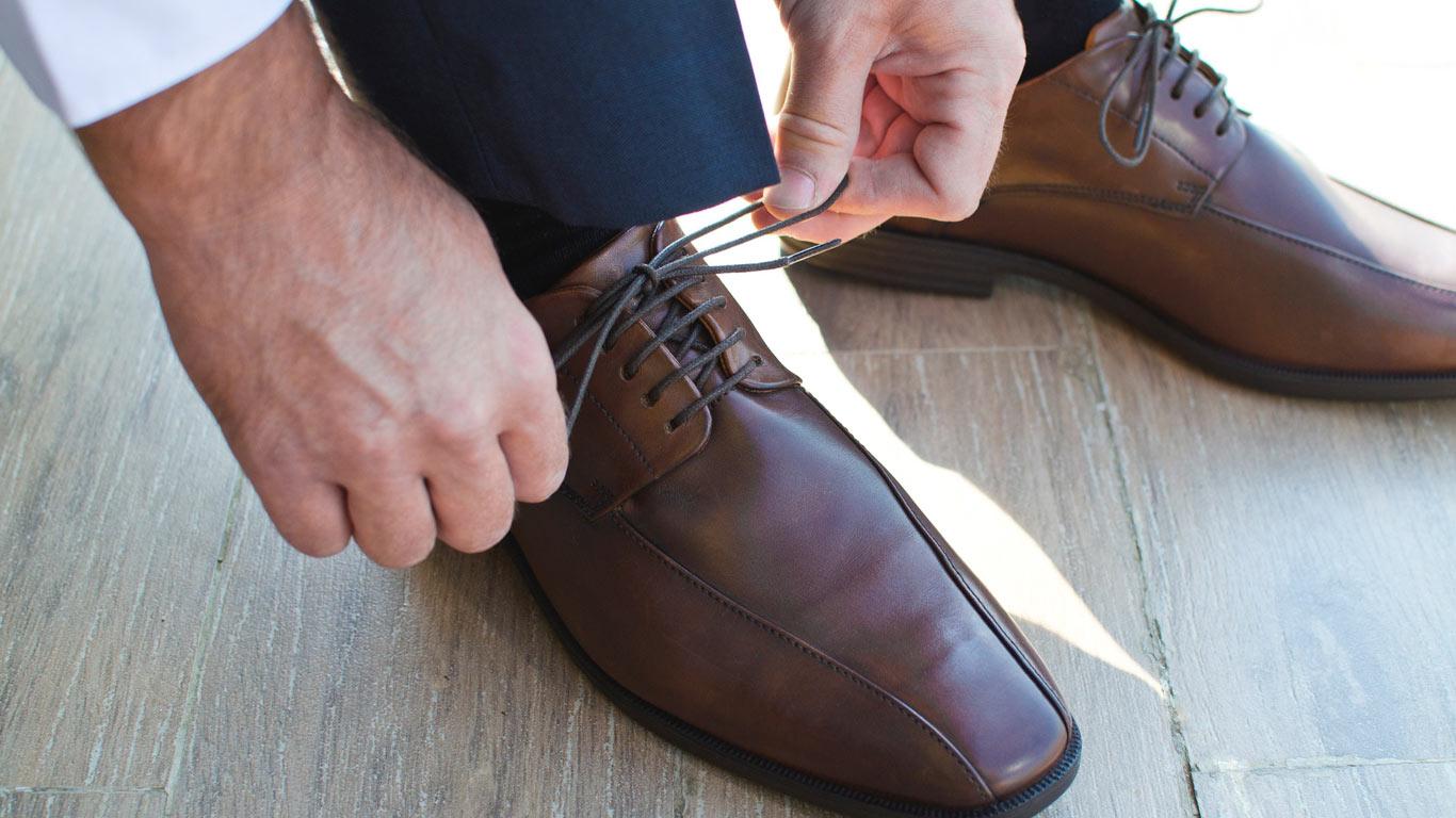 Close-up de um modelo clássico de sapatos