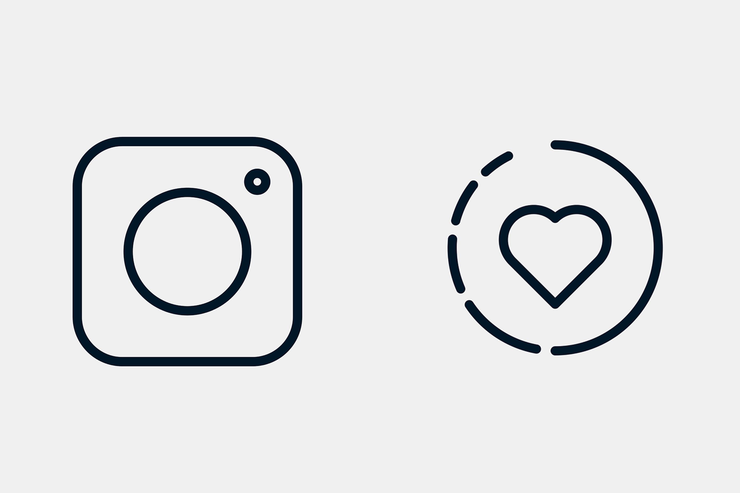 Dois ícones que representam dois símbolos presentes na rede social instagram.