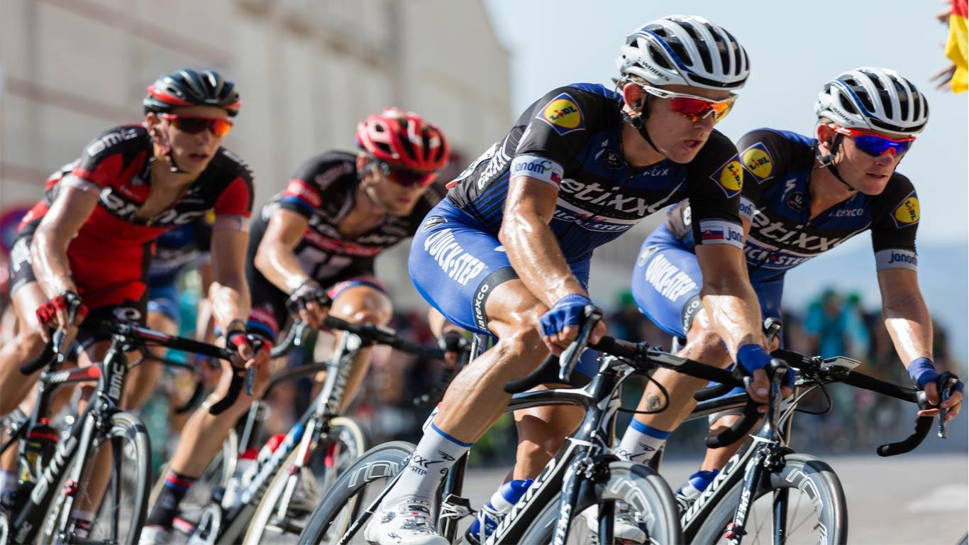 Alguns ciclitas profissionais a disputarem uma prova entre sí.