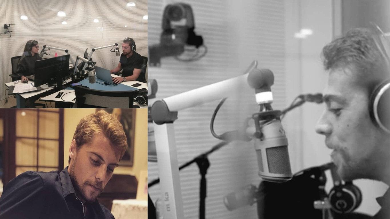Montagem de três imagens com um homem no interior de um estúdio de rádio.