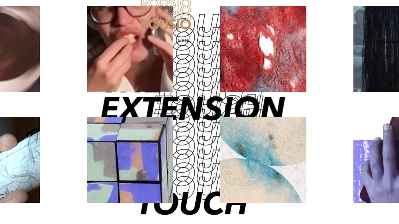 """Quatro retângulos nos cantos e quatro quadrados no centro com imagens abstratas. No meio está o título da exposição, a letras pretas, em inglês. """"Extension Touch"""" com a palavra touch sobreposta várias vezes"""