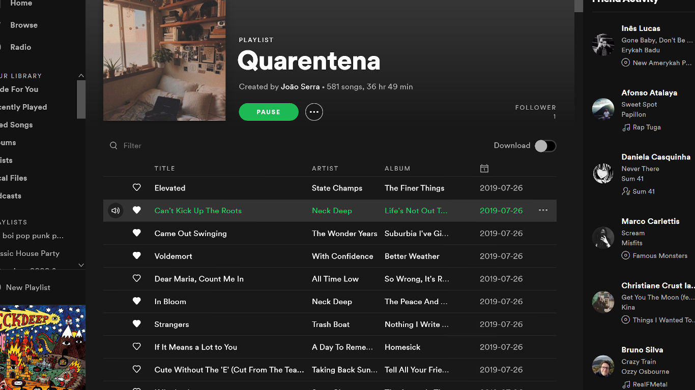 Playlist da plataforma de streaming Spotify
