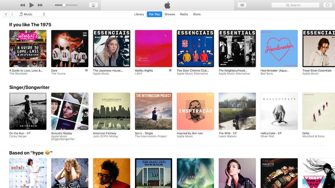 Lista de álbuns e recomendações na plataforma Apple Music