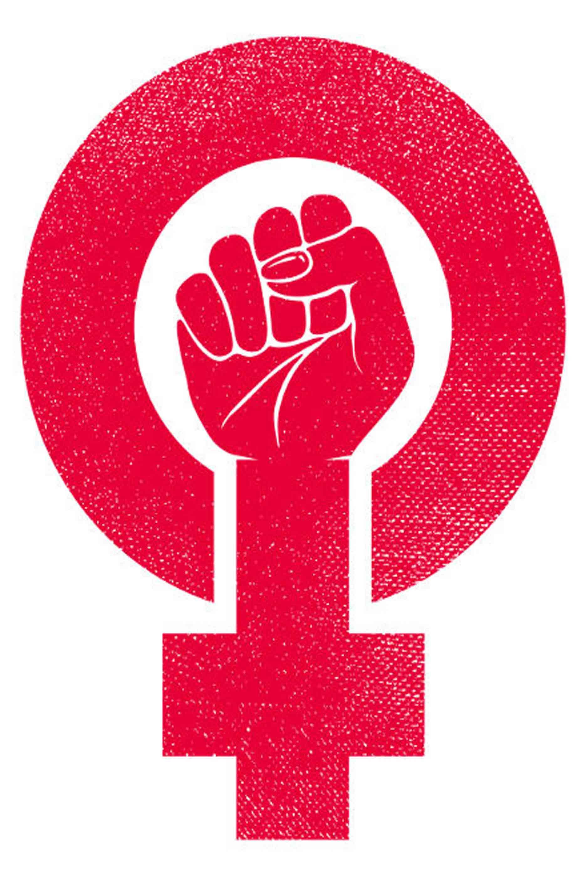 Símbolo feminino rosa avermelhado com uma mão de punho fechado