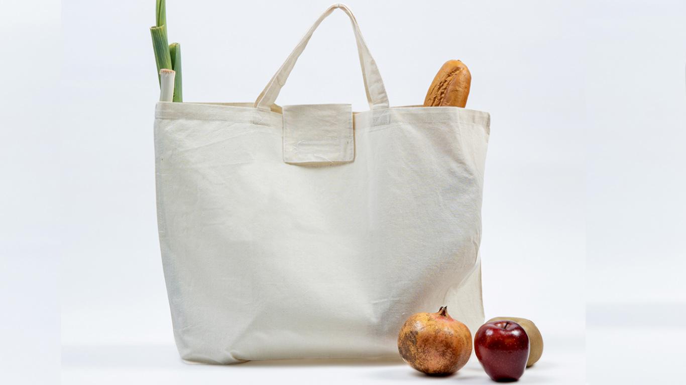 Na imagem observamos, uma sacola de pano branca e conseguimos perceber que lá dentro está um alho francês e uma baquete de pão (pois vemos um bocadinho desses alimentos). Fora do saco, mas junto ao seu lado direito vemos uma cebola e uma maçã vermelha e por trás vê-se um pouquinho, do que parece ser uma maçã rainheta.