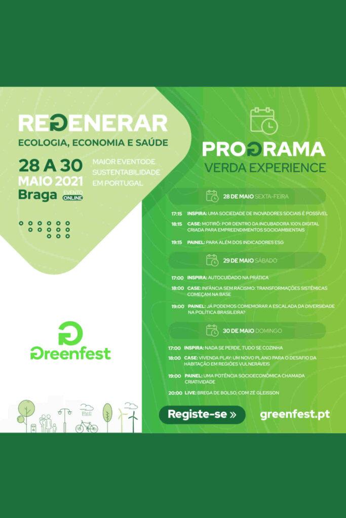 Programa da 13ª edição do Greenfest, cujo tema é a Regeneração.
