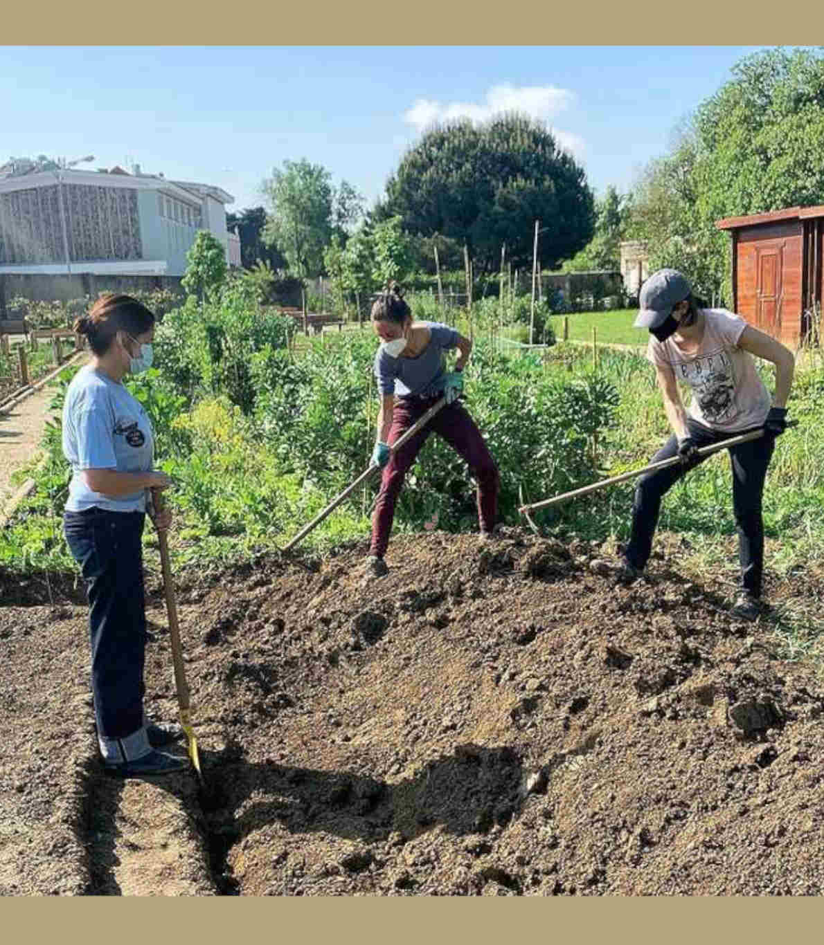 Três colaboradores do restaurante a trabalhar na horta. Duas raparigas cavam a terra, enquanto uma terceira as observa.