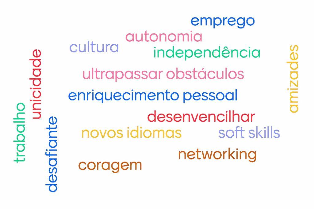 Palavras descritivas da experiência de Erasmus: emprego, autonomia, cultura, independência, ultrapassar obstáculos, enriquecimento pessoal, desenvencilhar, novos idiomas, soft skills, coragem, networking, amizades, trabalho, unicidade e desafiante.