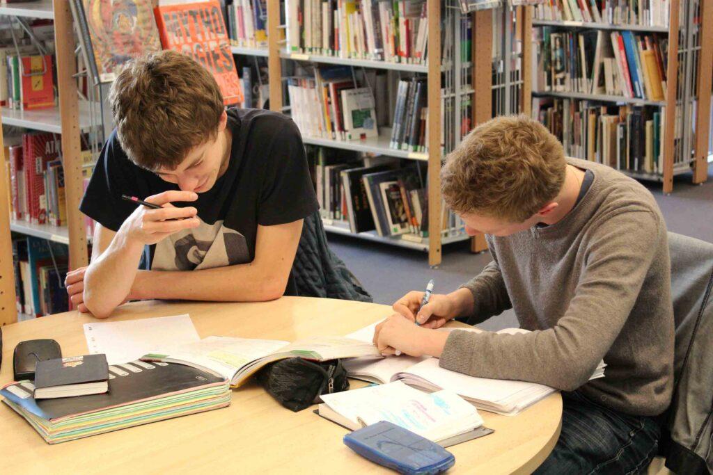 Dois alunos a estudar em conjunto na biblioteca numa mesa com livros, um estojo e duas calculadoras.