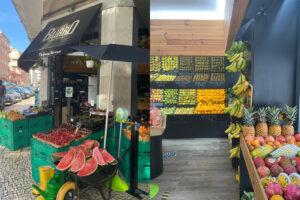 Bancada de Fruta no Exterior e Interior da Mercearia Biológica.